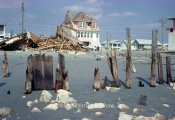 Wilson and Brearly Houses from beach at 51st Street. Hood's House in Background ( TV Antenna Tower on Ground Right Of House in Foreground Behind 2 Tall Pilings )