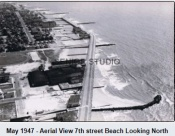 May 1947 Aerial View over 7th Street Beach Looking North