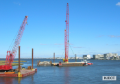 10.25.2006 Concrete pile being loaded on to a barge