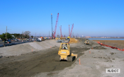 12.20.2006 Across from the existing Visitor Center on Garretts Island, the fill for the temporary ramp is being graded