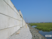 8.1.2007 This retaining wall with temporary drainage outfall pipe is on Rainbow Island