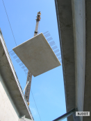 8.9.2007 This precast concrete deck panel is being installed on the Route 52 northbound bridge