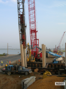 8.25.2007 Crews install concrete piles for the north abutment on Rainbow Island