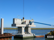 9.24.2007 Crews install bearing seats on a pier cap on Rainbow Channel