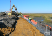 10.30.2006 Temporary retaining wall is being constructed to provide material storage and staging area at Garrets Island